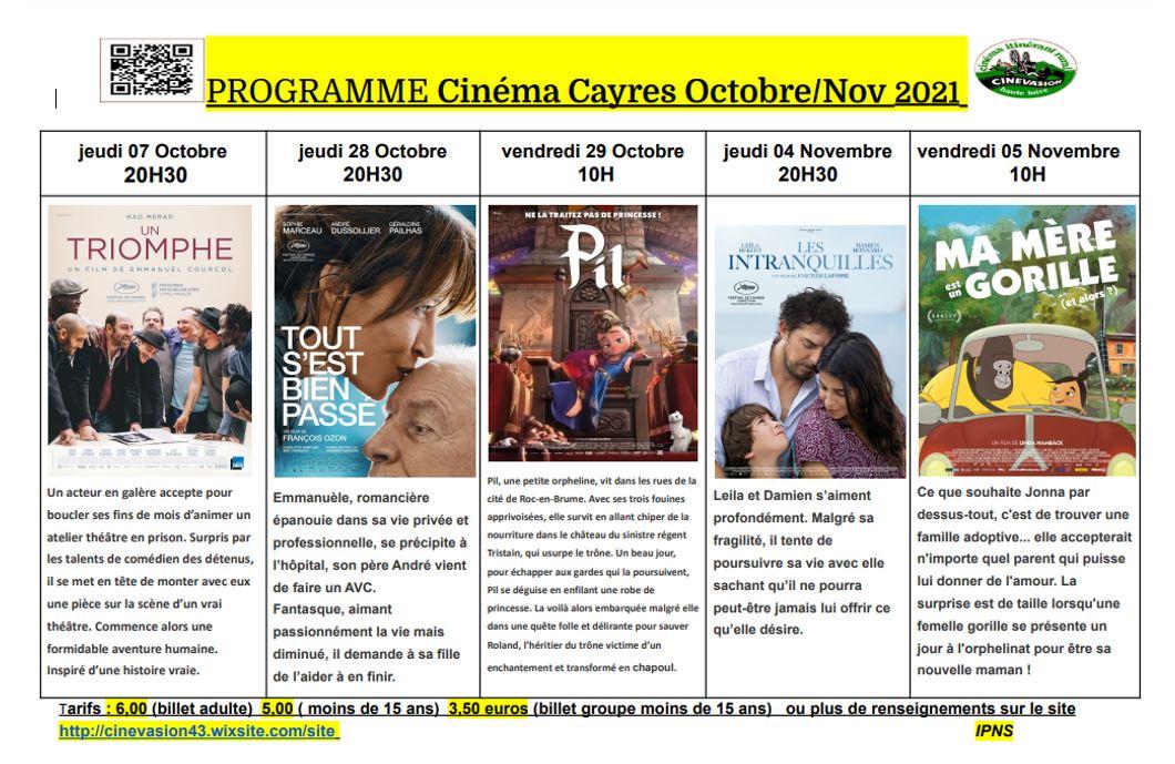 Programme Cinéma Cayres